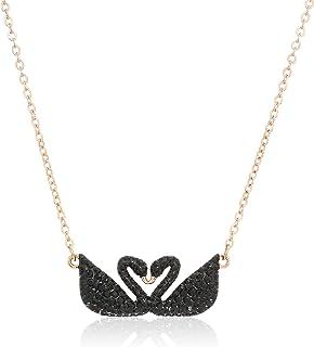 Swarovski iconic Swan 双项链,黑色5296468长度:147/ 20.3cm