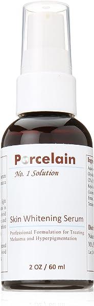 porcelain skin whitening serum hydroquinone kojic acid glycolic acid vitamin c licorice mulberry extract for melasma, hyperpigmentation 2oz
