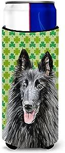 Caroline's Treasures SC9318-父母比利时牧羊犬圣帕特里克节三叶草肖肖像超饮料保温器适用于苗条罐 SC9318MUK,多色 多种颜色 Slim SC9318MUK
