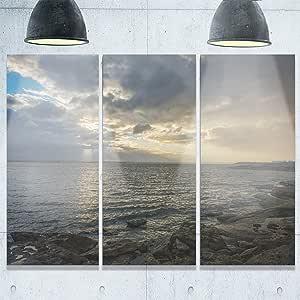 """Designart MT10203-20-12 悉尼澳大利亚海岸海岸大型海岸金属墙壁艺术 蓝色/白色 36x28"""" - 3 Panels MT10203-3P"""