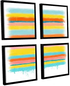 "ArtWall 4 Piece Jan Weiss's Stripes Floater Framed Canvas Square Set, 36"" x 36"""