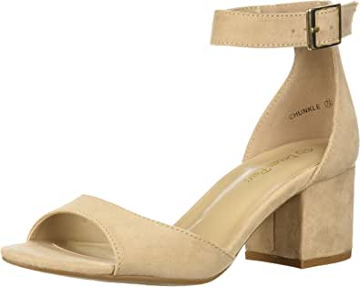 Dream pairs 女式 chunkle 高跟鞋 Nude Suede 5.5 B(M) US