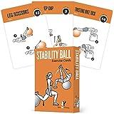 运动卡片稳定性,平衡球 - 包括 6,家庭锻炼时整体体:超大,防水,耐用,带图和说明:男女便携健身:62 张卡片