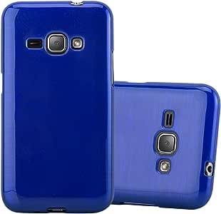 Cadorabo Case Works Samsung Galaxy J1 2016 (6) 超纤薄 TPU 硅胶保护套(设计拉丝) - 防震防刮凝胶保护套保护壳 保险杠皮肤后盖DE-107563 蓝色