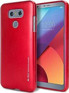 LG G6 手机壳【超薄款】GOOSPERY i-Jelly 手机壳【金属表面】优质【灵活】减震 TPU 缓冲壳【抗变色效果】适用于 LG G6 [2017]4335011253 金属红