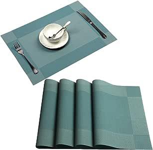 Placemat,U'Artlines Crossweave Woven Vinyl Non-slip Insulation Placemat Washable Table Mats Set 蓝色 4pcs placemats