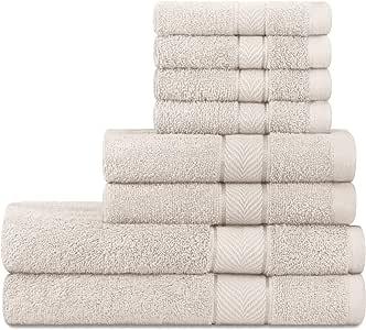DecorRack 8 件浴巾套装,棉质,重 500 GSM,*吸水性,超柔软,2 条浴巾,2 条擦手巾,4 条毛巾,非常适合浴室和客人使用 象牙色