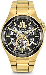 Bulova 男式模拟自动手表不锈钢表带 98A178