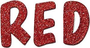 红色金属闪光手切 3.81 厘米纸板字母套装 棒棒糖字体 Sickers 红色 Uppercase 60 pieces LOL-Red15Uppercase60