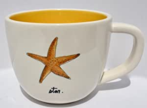 Rae Dunn Artisan Collection Magenta Stoneware Nautical Cappuccino Latte 马克杯 18盎司 Yellow Starfish