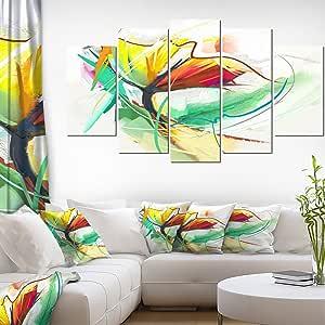 "Designart Still Life of Yellow Red Flower 墙壁艺术油画 红色 60x32"" - 5 Panels Diamond Shape PT15027-373"