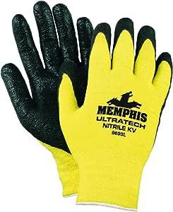Memphis Glove Ultratech 凯夫拉弹性壳纹理泡沫男式手套带直指和黑色丁腈涂层 大 1
