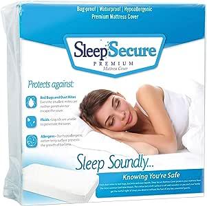 Bed Bug 床垫套 - 防虫,低*性,防水棉绒布高级罩 Sleep Secure 出品 白色 两个 SLE_Twin