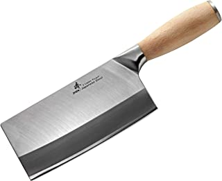 "ZHEN Japanese VG-10 3-Layer Forged Medium Duty Cleaver Chef Butcher Chopping Knife(Bone Chopper), 6.5"", Silver"