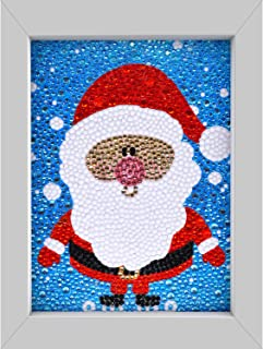 5D 钻石绘画工具包适用于儿童白色框架,DIY 全钻画,数字套件儿童家居墙壁装饰礼品(圣诞老人)