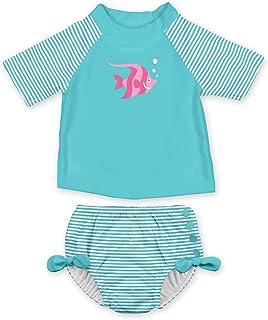 I PLAY 女婴2件防晒衣游泳衣套装带按扣可重复使用游泳尿布