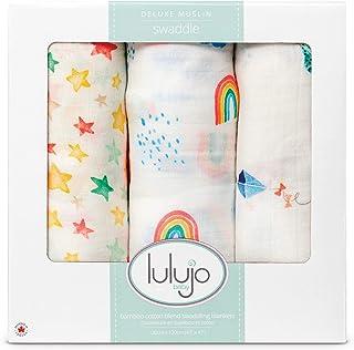 lulujo Baby 3 件套奢华棉布襁褓毯套装,天空高
