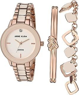 Anne Klein Women's Genuine Diamond Dial Watch and Bracelet Set, AK/3348