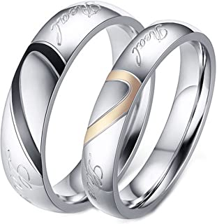 "LineAve His Hers Couple ""Real Love"" Matching Heart Ring Mens Womens Wedding Band Stainless Steel"