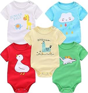 FLORNO 中性款婴儿连体衣 5 件装婴儿短袖连体衣连体衣紧身衣短袖紧身衣裤 * *棉