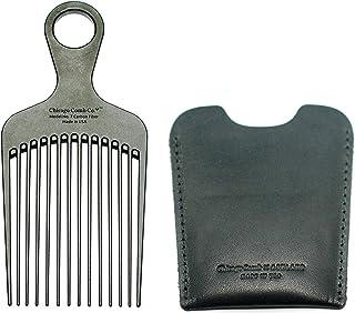 芝加哥 Comb No. 7 碳纤维 + Horween Dublin 黑色皮套,美国制造,顺发梳,男女皆宜,长发,卷发和厚发,大熊和黑发,抗静电,6 英寸(15 厘米)长