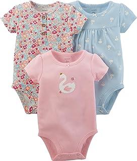 Carter ' s 粉色女孩短袖3只装花卉 & 天鹅紧身衣粉色