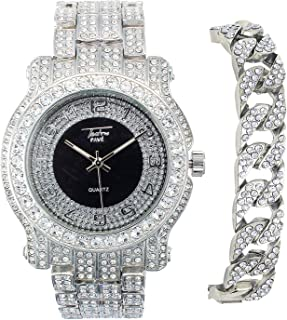 Men's 45mm Iced Out Metal Band Watch, Analog Display w/Simulated Cubic Zirconia Crystals - Quartz Movement - Adjustable (A...