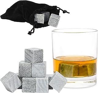 Relaxdays 威士忌石 灰色 9 件套 可重复使用,用于饮料,冰块 皂石,灰色