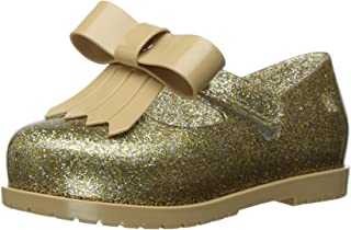 Mini Melissa 迷你经典婴儿伊·玛丽珍平底鞋 金色玻璃闪光 9 Regular US Toddler