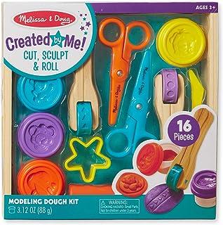 Melissa & Doug 切割、雕塑和滚土土豆玩具套装含 8 种工具,4 种颜色建模面团。