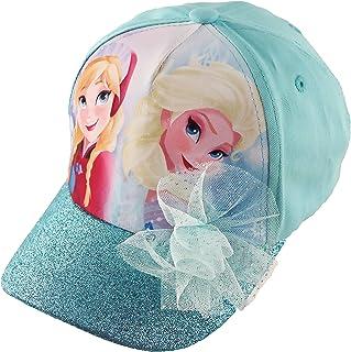 Disney 冰雪奇缘 Elsa 和 Anna 棉质带闪光球的棒球帽,小女孩,蓝色,适合 4-7 岁儿童