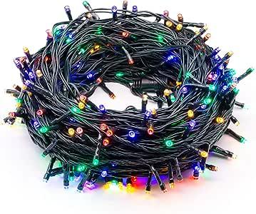 """320 个 LED 灯,115 英尺/35 米串灯,*功能,端到端插头,户外室内防水装饰仙女闪烁圣诞灯串,8 种模式,适用于圣诞树/婚礼/新年/家庭 - 彩色 """"Multi"""" BW-32LEDSL-US-MC"""