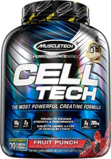 MuscleTech 肌肉科技 CellTech肌酸粉,微粉化肌酸,肌酸盐酸盐,果汁饮料,6磅(2.72kg)