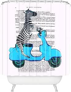 "Deny Designs Coco de Paris 气球浴帘 Zebra on Blue Vespa 69"" x 72"" 49996-shocur"