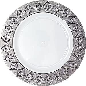 Posh Setting Imperial 系列 10 件装中国外观 18.42 cm 白色/银色塑料沙拉/Appetizer 盘子,花式一次性餐具 白色/银色 每包10条 14194722