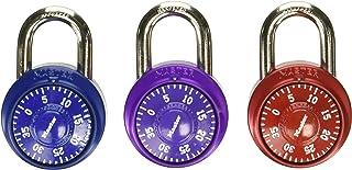 Master Lock 1530T 组合挂锁,亮金属,每包 2 个锁,颜色随机,4 个装