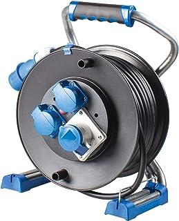 as - Schwabe Xperts 野营电缆鼓 25 米 - 户外加长电缆鼓带 CEE 插头 230 V / 16 A / 3 极,2 个Schuko插座和 1 CEE 插座 - IP44 - 德国制造 I 22176