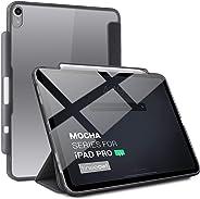 TineeOwl Mocha iPad Pro 11 英寸超薄透明保护壳带铅笔架 + 三折支架盖,支持 Apple 铅笔无线充电[吸收冲击] 柔性 TPU,轻质