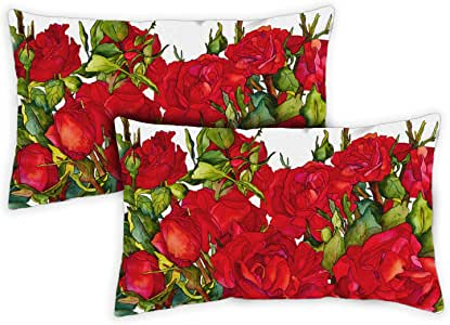 Toland Home Garden 761238 玫瑰花朵 12 x 19 Inch Indoor/Outdoor Pillow Case Only (2-Pack) 771238