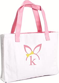 Cathy's Concepts Girls Easter Bunny Canvas Tote Bag, Monogrammed Letter K