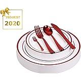 一次性盘子套装 红色 Plates&Cutlery