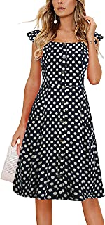 Alice & Elmer 女士休闲沙滩夏季连衣裙口袋系扣露肩太阳裙