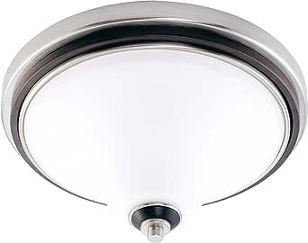 Nuvo Lighting Keen Flush 圆顶缎白色玻璃,拉丝镍,乌木木 Brushed Nickel, Ebony 大 60/2459