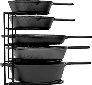 重型平底锅收纳架,5层机架 – 可容纳铸铁平底锅、煎锅和浅锅 – 耐用钢结构 – 节省空间的厨房存储
