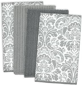 DII Damask Cleaning, Washing, Drying, Ultra Absorbent, Microfiber Dishtowel, Set of 4, Gray