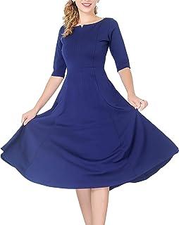 marycrafts 女式修身喇叭茶中长款连衣裙适用于办公室商业工作