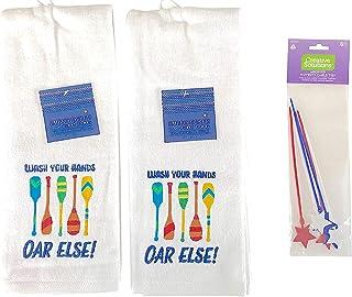 白色客人手巾:豪华柔软吸水彩色刺绣 2 件套,趣味提醒警告标志设计,40.64 厘米 x 71.12 厘米