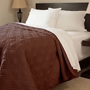 Bedford Home Solid Color Bed Quilt, Twin, Chocolate