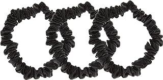 * 桑蚕丝 Scrunchies - 优质天然真丝小松软细发套温和*,3 件装纯丝发圈(3 个黑色)