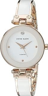ANNE KLEIN 女士 AK/1980WTRG 钻石点缀表盘 手镯表,White/Rose Gold,均码